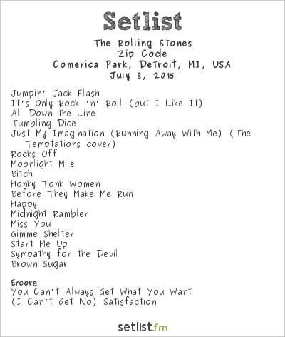 The Rolling Stones Setlist Comerica Park, Detroit, MI, USA 2015, Zip Code