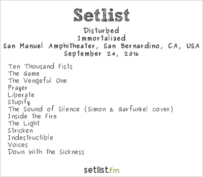 Disturbed Setlist Ozzfest Meets Knotfest 2016 2016, Immortalized