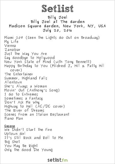 Billy Joel Setlist Madison Square Garden New York Ny Usa 2016 Billy Joel At The Garden