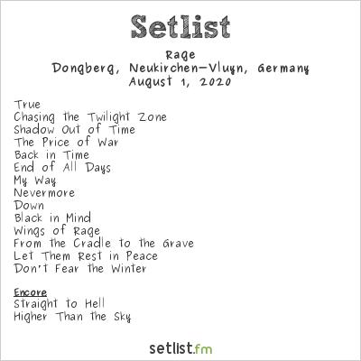 Rage Setlist Dongberg, Neukirchen-Vluyn, Germany 2020