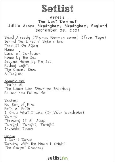 Genesis Setlist Utilita Arena Birmingham, Birmingham, England, The Last Domino? Tour 2021