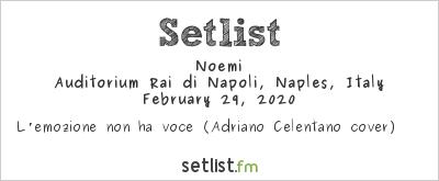 Noemi at Una storia da cantare 2020 Setlist