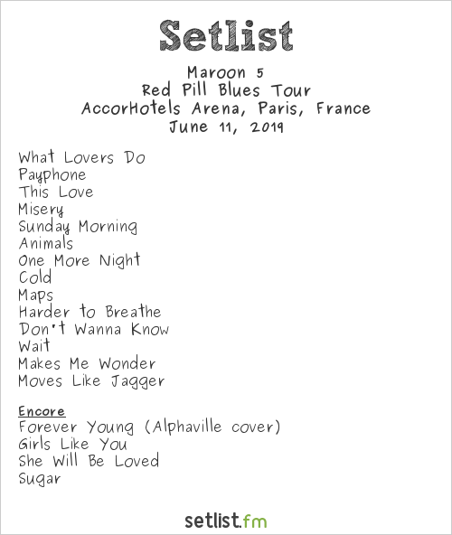Maroon 5 Setlist AccorHotels Arena, Paris, France 2019