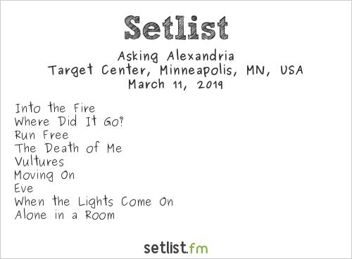 Asking Alexandria Setlist Target Center, Minneapolis, MN, USA 2019, Attention! Attention! Tour