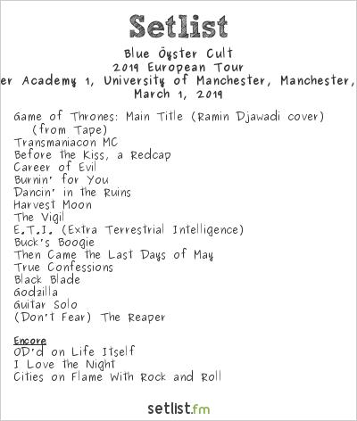 Blue Öyster Cult Setlist Manchester Academy 1, University of Manchester, Manchester, England 2019, 2019 European Tour