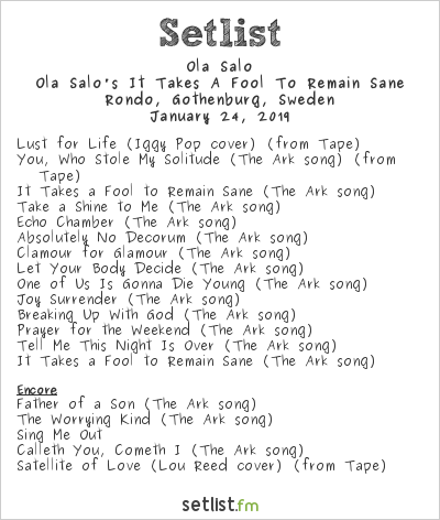 Ola Salo Setlist Rondo, Gothenburg, Sweden 2019, Ola Salo's It Takes A Fool To Remain Sane