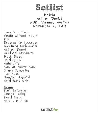 Metric Setlist WUK, Vienna, Austria 2018, Art of Doubt