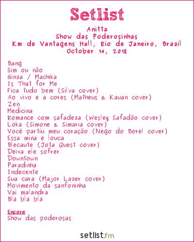 Anitta Setlist Km de Vantagens Hall, Rio de Janeiro, Brazil 2018