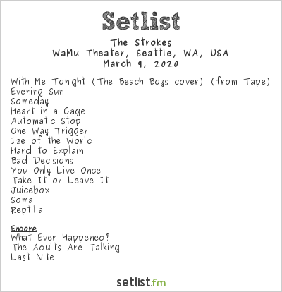 The Strokes Setlist WaMu Theater, Seattle, WA, USA 2020