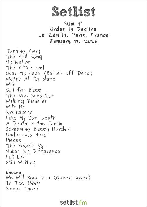 Sum 41 Setlist Le Zénith, Paris, France 2020, Order in Decline