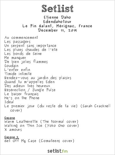 Étienne Daho Setlist Le Pin Galant, Mérignac, France 2019, Edendahotour