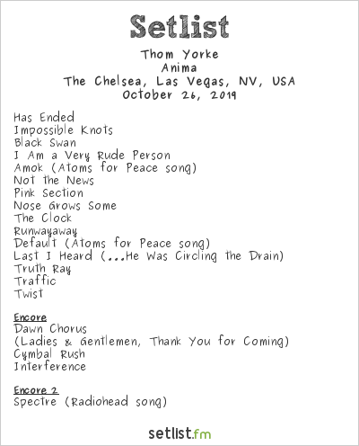 Thom Yorke Setlist The Chelsea, Las Vegas, NV, USA 2019, Anima