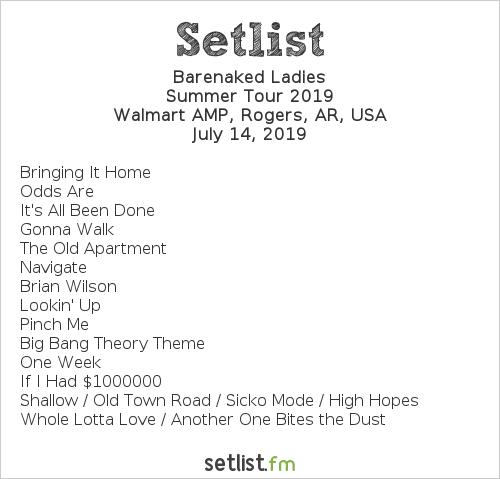 Barenaked Ladies Setlist Walmart AMP, Rogers, AR, USA 2019