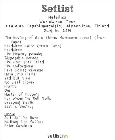 Metallica Setlist Kantolan Tapahtumapuisto, Hämeenlinna, Finland 2019, Worldwired Tour