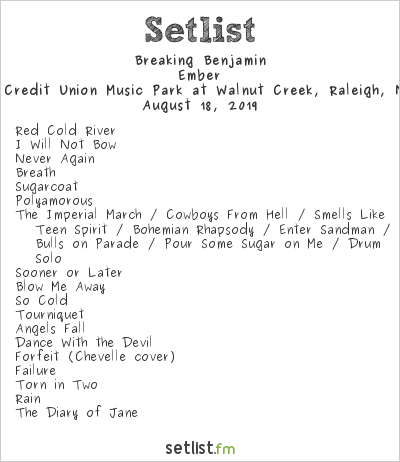 Breaking Benjamin Setlist Coastal Credit Union Music Park at Walnut Creek, Raleigh, NC, USA 2019, Ember