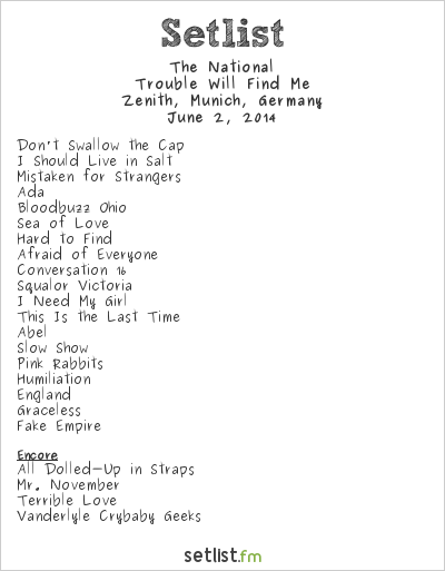 The National Setlist Zenith, Munich, Germany 2014, Trouble Will Find Me