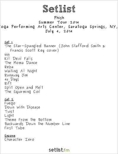 Phish Setlist Saratoga Performing Arts Center, Saratoga Springs, NY, USA 2014