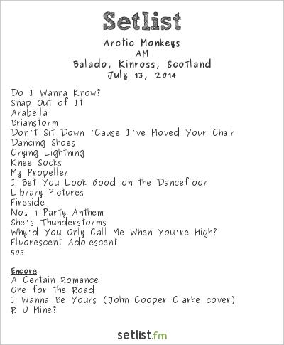 Arctic Monkeys Setlist T in the Park 2014 2014, AM Tour