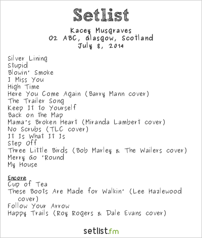 Kacey Musgraves Setlist O2 ABC, Glasgow, Scotland 2014
