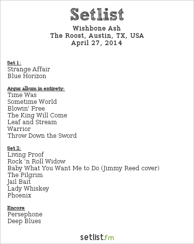 Wishbone Ash Setlist The Roost, Austin, TX, USA 2014