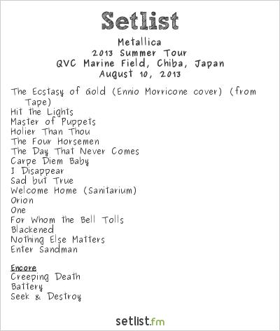 Metallica Setlist Summer Sonic Tokyo 2013 2013, 2013 Summer Tour