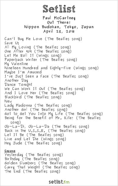 Paul McCartney Setlist Nippon Budokan, Tokyo, Japan 2015, Out There! Tour