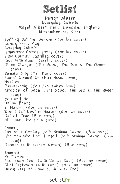 Damon Albarn Setlist Royal Albert Hall, London, England 2014