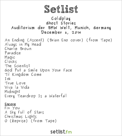 Coldplay Setlist Auditorium der BMW Welt, Munich, Germany 2014