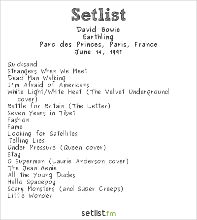 David Bowie Setlist Rock a Paris Festival 1997 1997, Earthling Tour