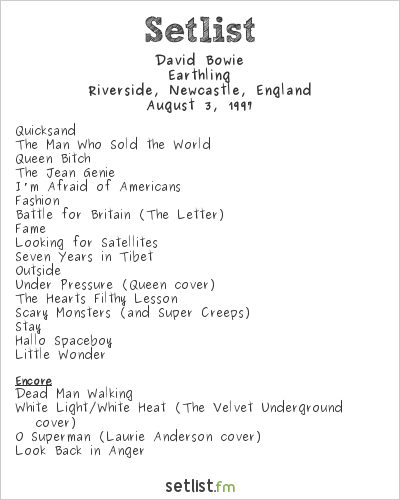 David Bowie Setlist Riverside, Newcastle, England 1997, Earthling Tour