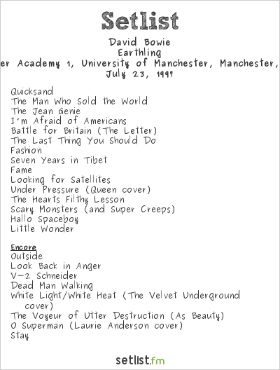 David Bowie Setlist Manchester Academy, Manchester, England 1997, Earthling Tour