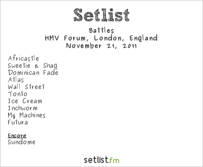 Battles Setlist HMV Forum, London, England 2011