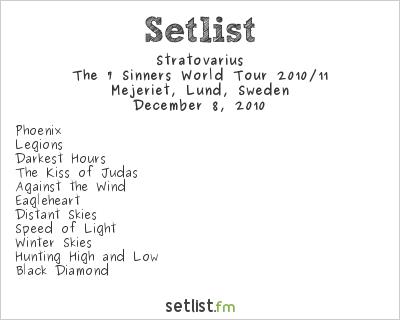 Stratovarius Setlist Mejeriet, Lund, Sweden 2010, The 7 Sinners World Tour 2010/11