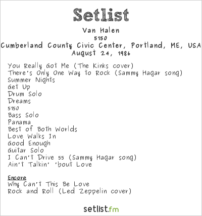 Van Halen Setlist Cumberland County Civic Center, Portland, ME, USA 1986, 5150