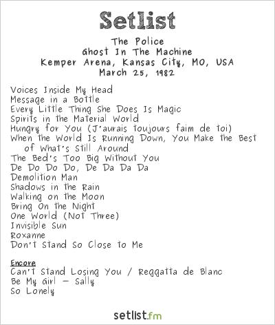 The Police at Kemper Arena, Kansas City, MO, USA Setlist