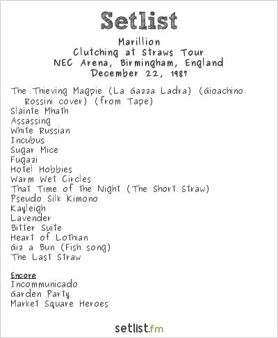 Marillion Setlist NEC Arena, Birmingham, England 1987, Clutching at Straws Tour