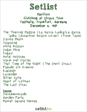 Marillion Setlist Festhalle, Frankfurt, Germany 1987, Clutching at Straws Tour