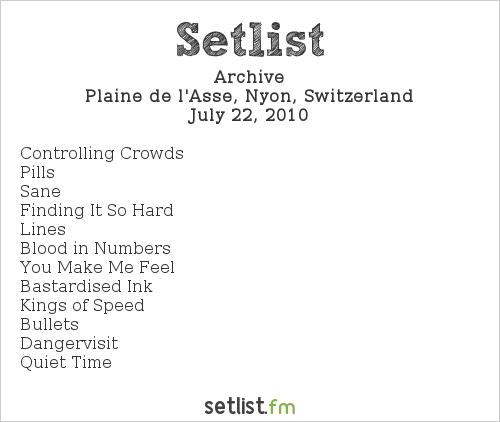 Archive Setlist Paléo Festival 2010 2010