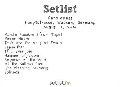 Candlemass Setlist Wacken Open Air, Wacken, Germany 2010