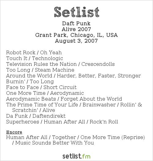 Daft Punk Setlist Lollapalooza 2007, Alive 2007