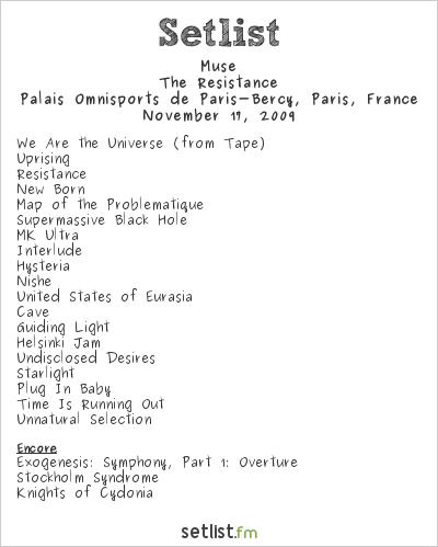 Muse Setlist Palais Omnisports de Paris-Bercy, Paris, France 2009, Resistance European Arena Tour