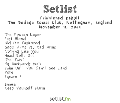 Frightened Rabbit Setlist The Bodega Social Club, Nottingham, England 2009