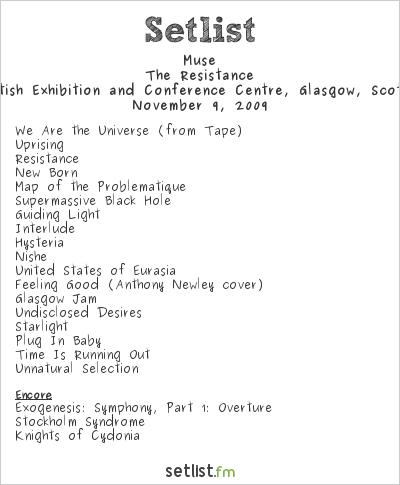 Muse Setlist S.E.C.C., Glasgow, Scotland 2009, Resistance European Arena Tour