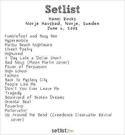 Hanoi Rocks Setlist Sweden Rock Festival 2008 2008