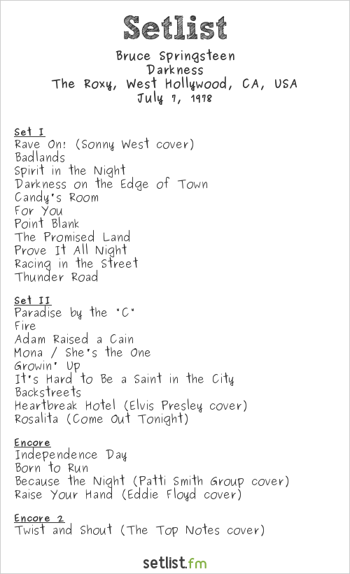 Bruce Springsteen Setlist The Roxy, West Hollywood, CA, USA 1978, Darkness