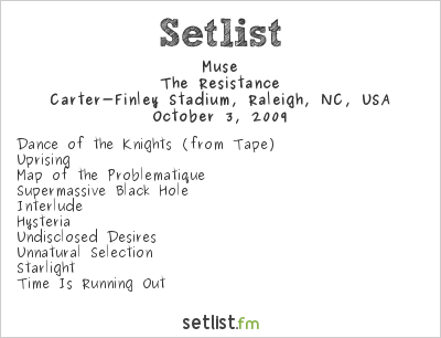 Muse Setlist Carter-Finley Stadium, Raleigh, NC, USA 2009, Supporting U2 360° Tour