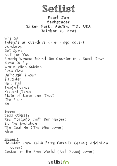 Pearl Jam Setlist Austin City Limits 2009 2009, Backspacer