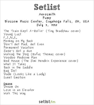 Aerosmith Setlist Blossom Music Center, Cuyahoga Falls, OH, USA 1990, Pump