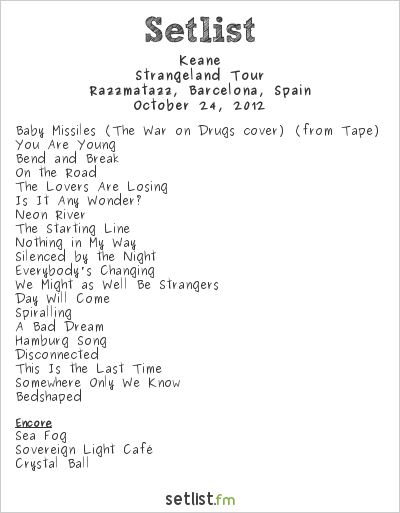 Keane Setlist Razzmatazz, Barcelona, Spain 2012, Strangeland Tour