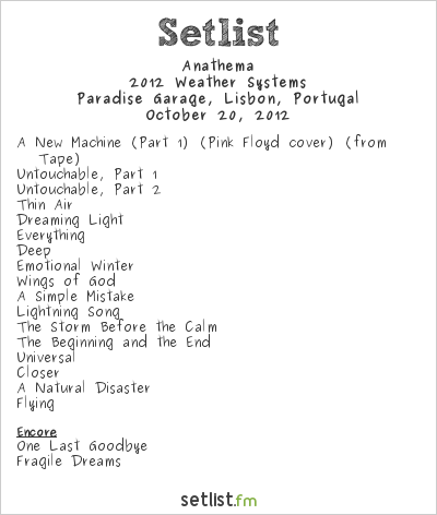 Anathema Setlist Paradise Garage, Lisbon, Portugal 2012, Weather Systems